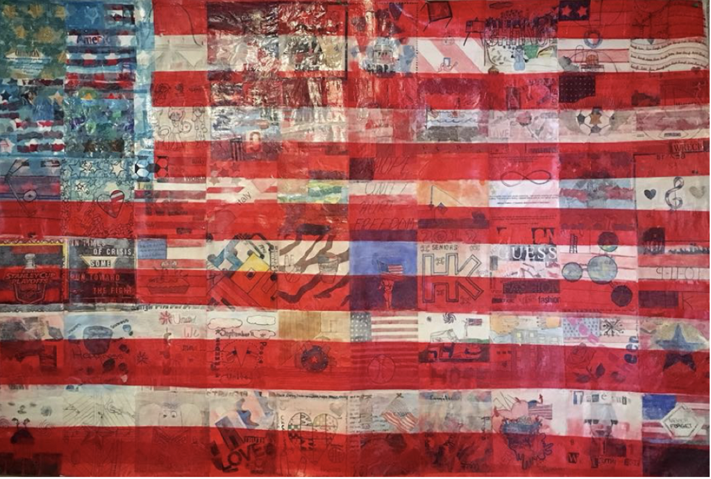 September 11th Remembrance flag. Amanda Davis, art teacher at Hull High School, Hull, Massachusetts. Collaborative piece by Hull High School students. Mixed media: tissue paper stars and stripes and markers, pencils, watercolors, for student's individual squares. 5 ft. L X 3 1/2 ft W.